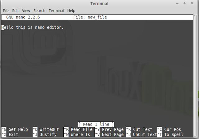 nano file edit command using terminal
