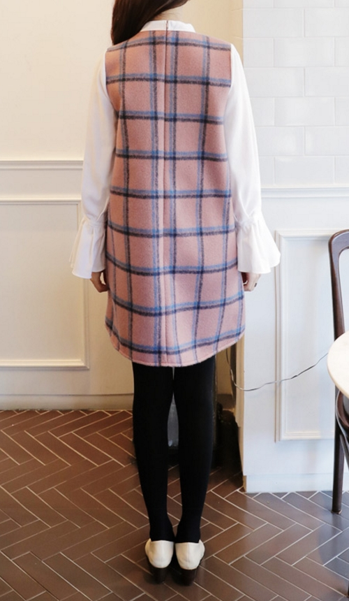 Contrast Sleeve Checked Dress