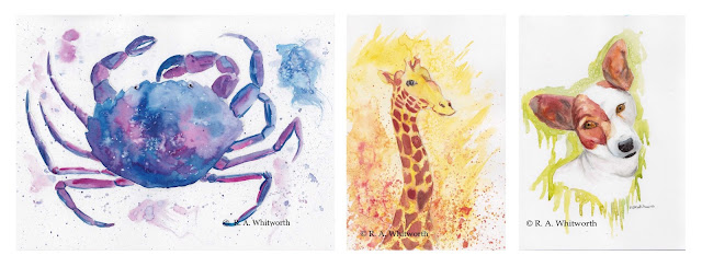 Collage featuring paintings of a crab, a giraffe and a Jack Russell puppy