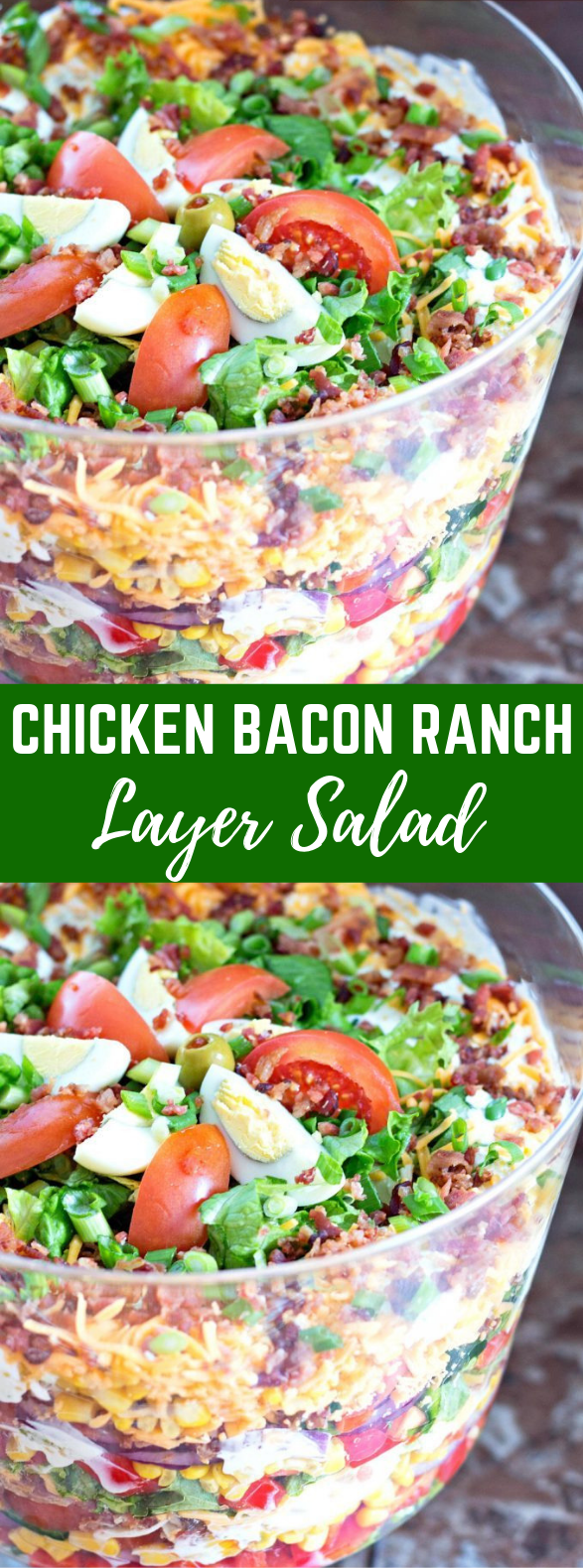 Chicken Bacon Ranch Layer Salad #healthyrecipes #dressing