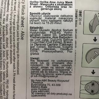 3 produkty, czyli mini recenzje, dziś maski w płacie z Holika Holika, L'biotica oraz Tony Moly.
