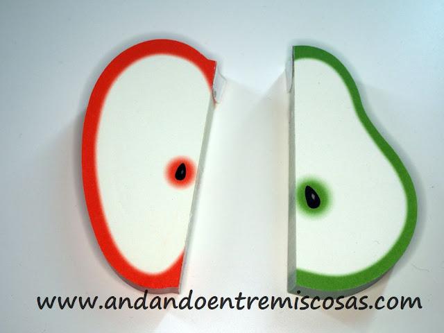 Blogs de notas con forma de manzana y pera