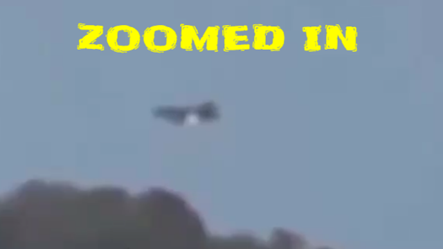 Zoomed in for a closer look at the UFO on the side of a mountain.