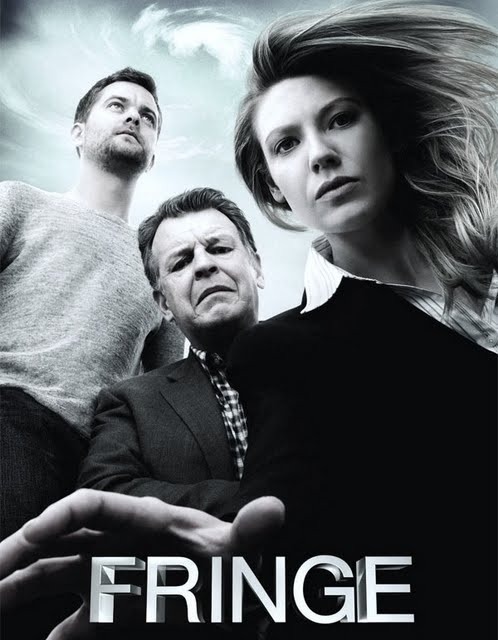 'Fringe' poster with logo at bottom showing the main characters in 'worm's-eye view', Olivia and Walter looking down at the viewer as Peter looks off above