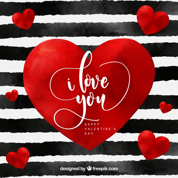 Watercolor valentine's day background with stripes and red heart Free Vector