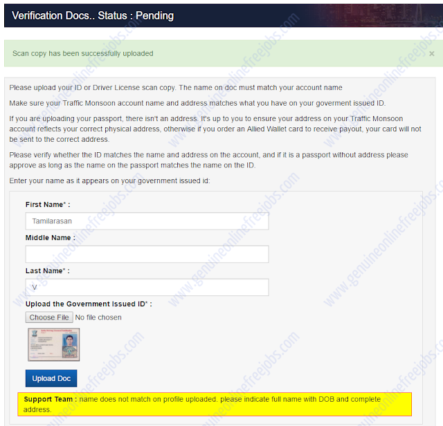 Traffic Monsoon - Account verification step 3
