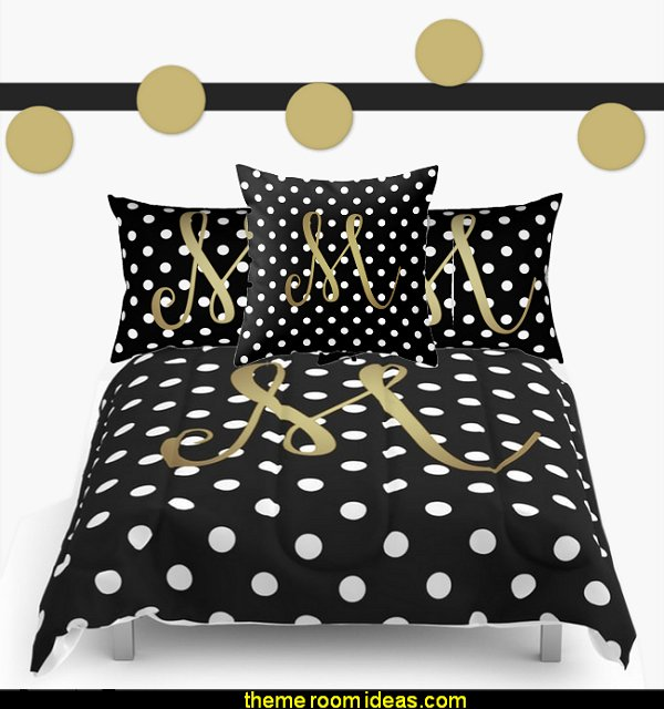 "Retro Black and White Polka Dot with Gold ""M"" Monogram"