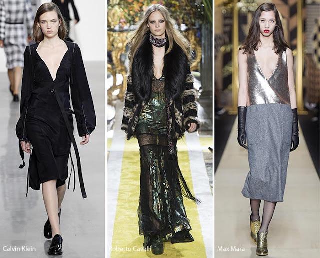 Платья и топы с глубоким вырезом образы с подиума