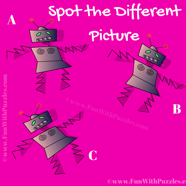 It is Picture Puzzle in which one has to find the Bot which is different