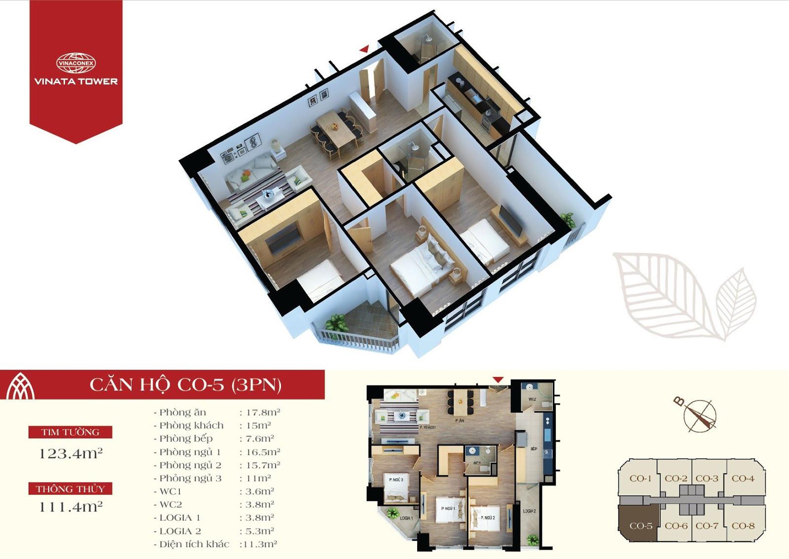 Thiết kế chi tiết căn hộ CO-05 DT 111,4m2 - 3PN, 2VS