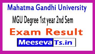 Mahatma Gandhi University MGU Degree 1st year 2nd Sem Exam Result