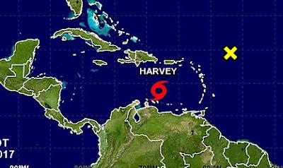 Tormenta Harvey se desplaza por el Caribe