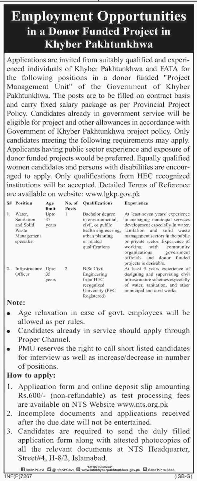 Jobs In Project Management Unit Khyber Pakhtunkhwa Dec 2017