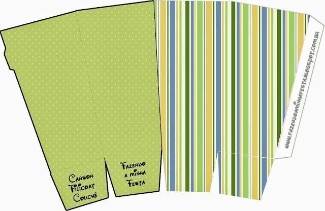 Green, Blue and Orange,Free Printable Pop Corn Box.