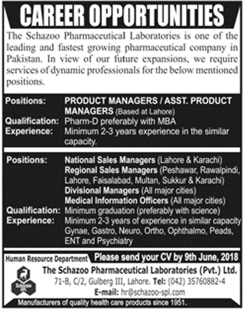 Pharmaceuticals Jobs in The Scahzoo Pharmaceutical