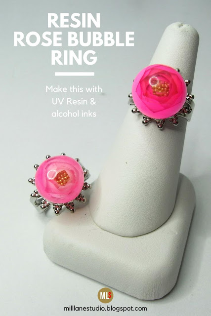 Inspiration sheet with photo of light pink and dark pink Resin Rose Bubble Rings on a ring stand