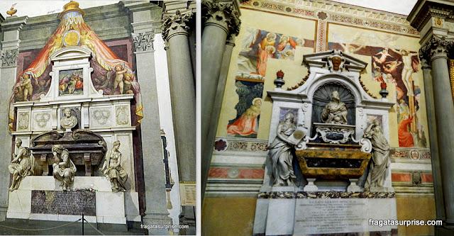 Florença - Basílica de Santa Croce - túmulos de Michelangelo e Galileu Galilei