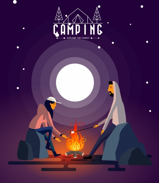 Camping advertising banner human flame round moon icons Free vector