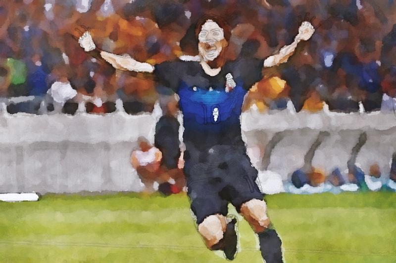 水彩画の浅野拓磨(サッカー日本代表)