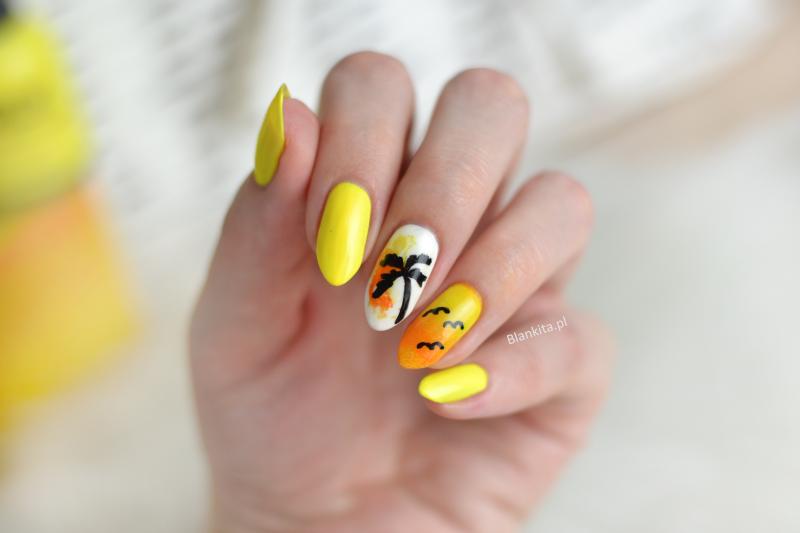 palm tree on nail, palm tree, palma, drzewko palmowe, drzewo palmowe na paznokciach, żółte paznokcie, yellow nails, yellow nails and palm tree
