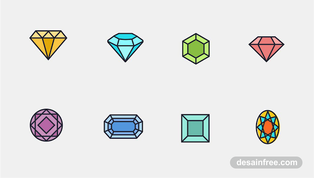 8 Diamond Icon PSD Free Download - desainfree.com