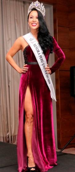 Foto de Patty Wong con corona de Señora Perú Universo 2016