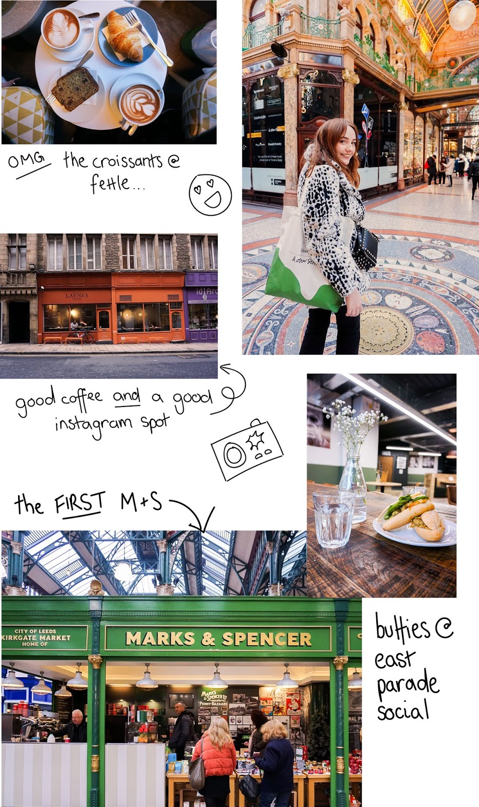 collage of places to eat and drink in Leeds, including fettle and layne's coffee shops, a shopping arcade and marks and Spencer, kirkgate market