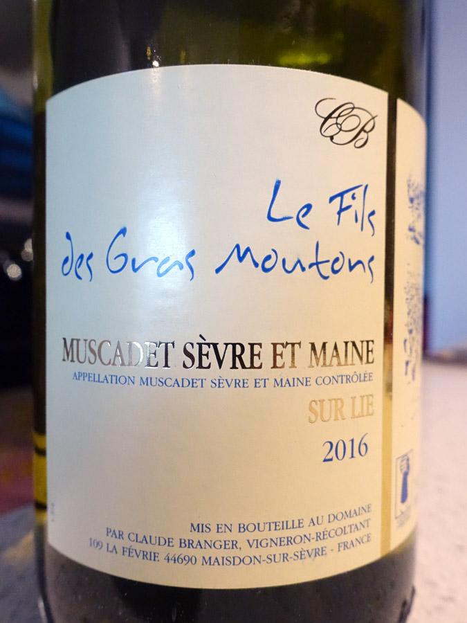 Le Fils des Gras Moutons Muscadet Sèvre-et-Maine Sur Lie 2016 (88 pts)