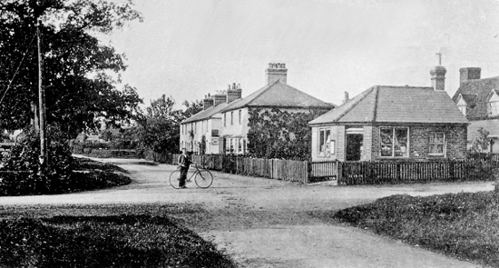 Photograph of Welham Green crossroads by Geo. Knott. 1905