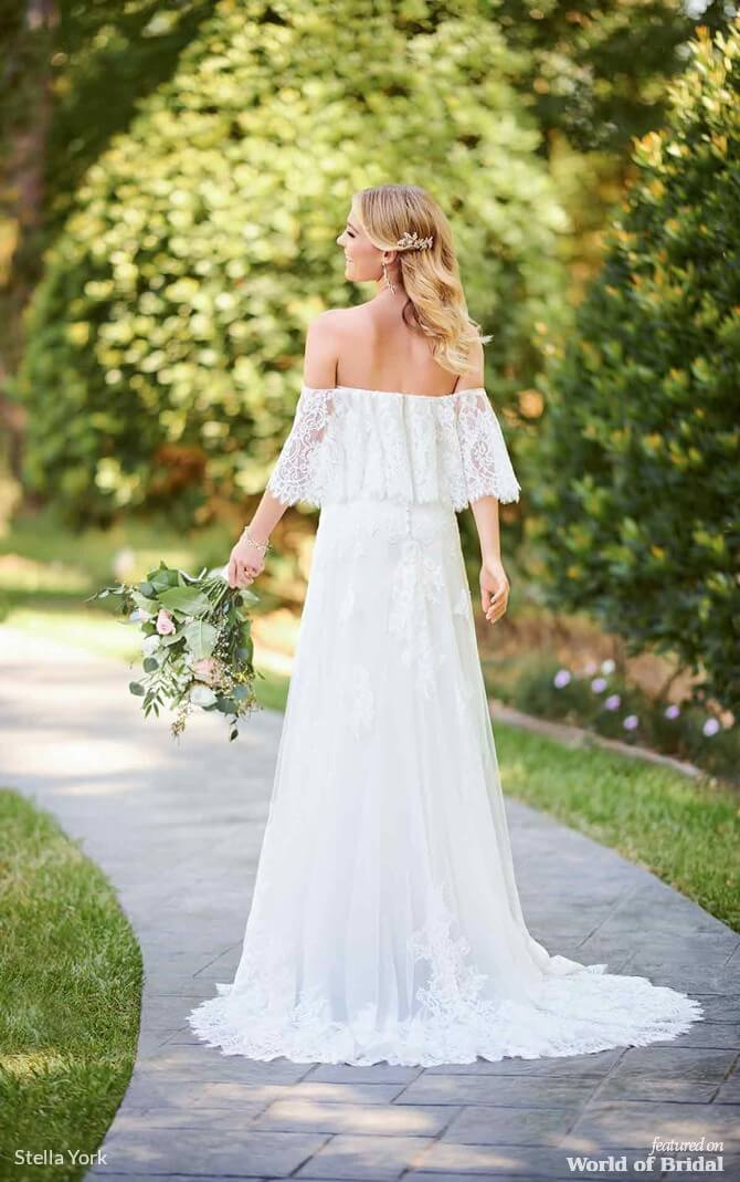 641425a5cb33 Stella York Spring 2019 Casual Boho Wedding Dress with Flutter Sleeves