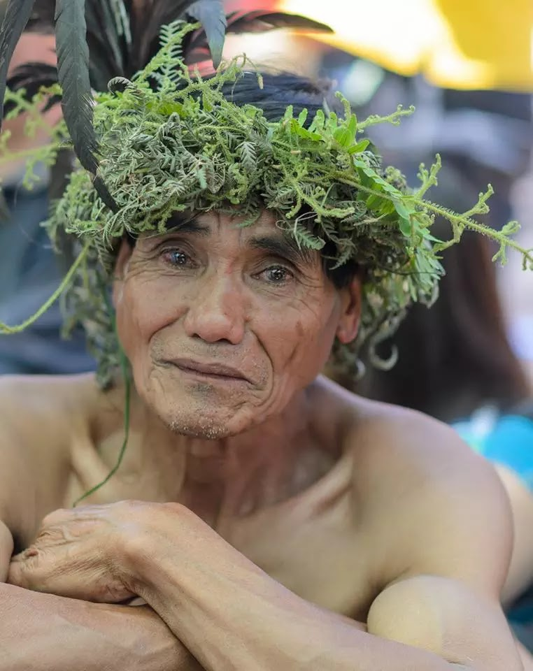 Ethno-Indigenous Man Wearing Wild Mountain Fern Head Dress  © Peter Florendo 13th Lang-Ay Bontoc Mountain Province Cordillera Administrative Region Philippines
