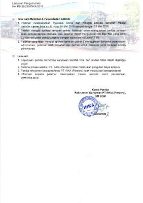 Penerimaan Karyawan PT INDUSTRI KERETA API