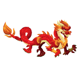 Aparência de adolescente Dragão Asiático Vermelho