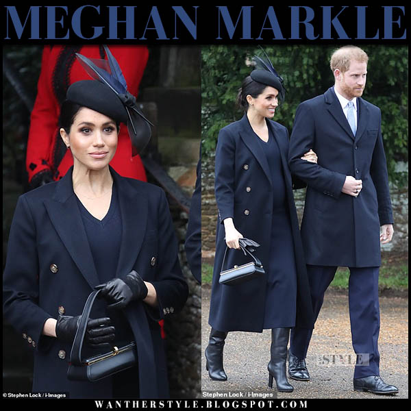 Meghan Markle in navy coat, navy midi dress and black leather victoria beckham boots christmas church outfit december 25 royal family