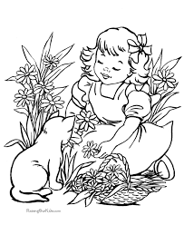 Little Girl and Pussy Cat on Garden Coloring Sheet