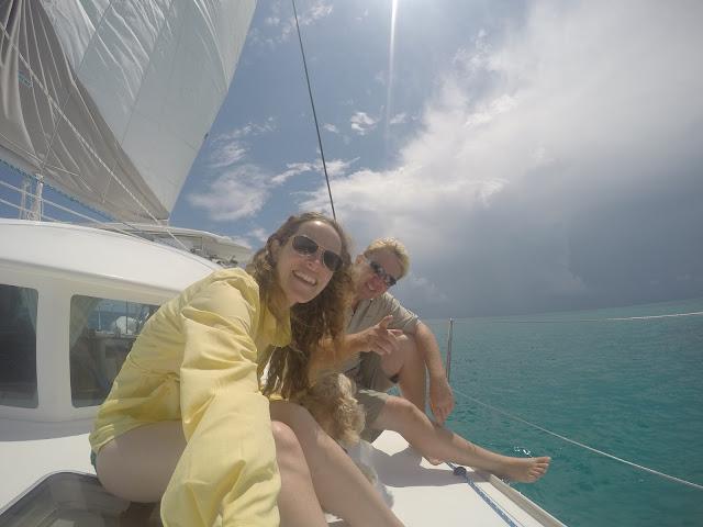 Couple with dog sail their Lagoon 380 catamaran in the Florida Keys