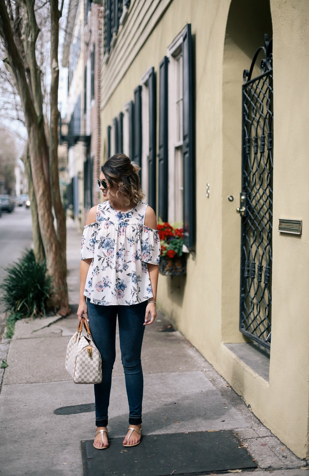 charleston, floral cold shoulder top, panama hat