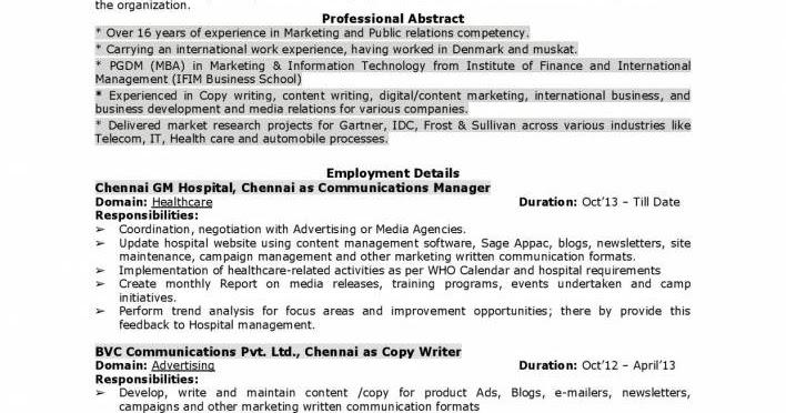 marketing communications manager resume with international