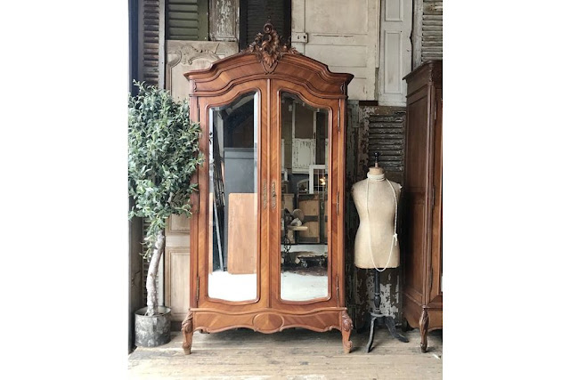 Vintage French double door Louis XV armoire