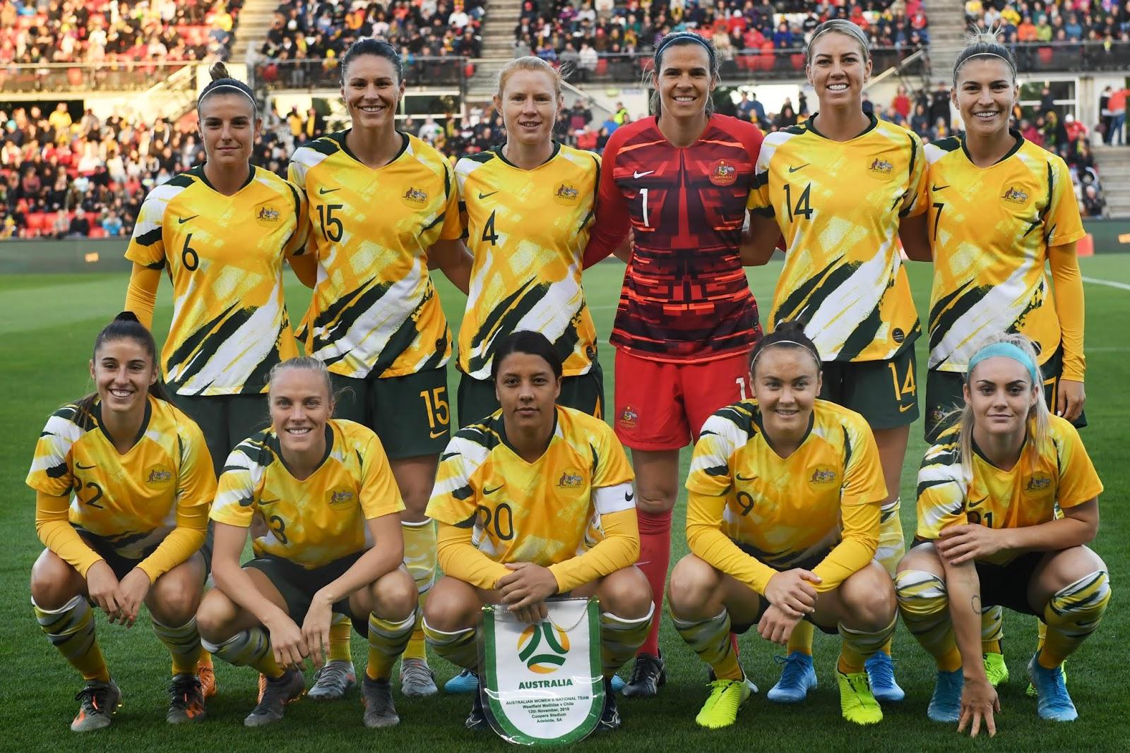 Formación de selección femenina de Australia ante Chile, amistoso disputado el 12 de noviembre de 2019