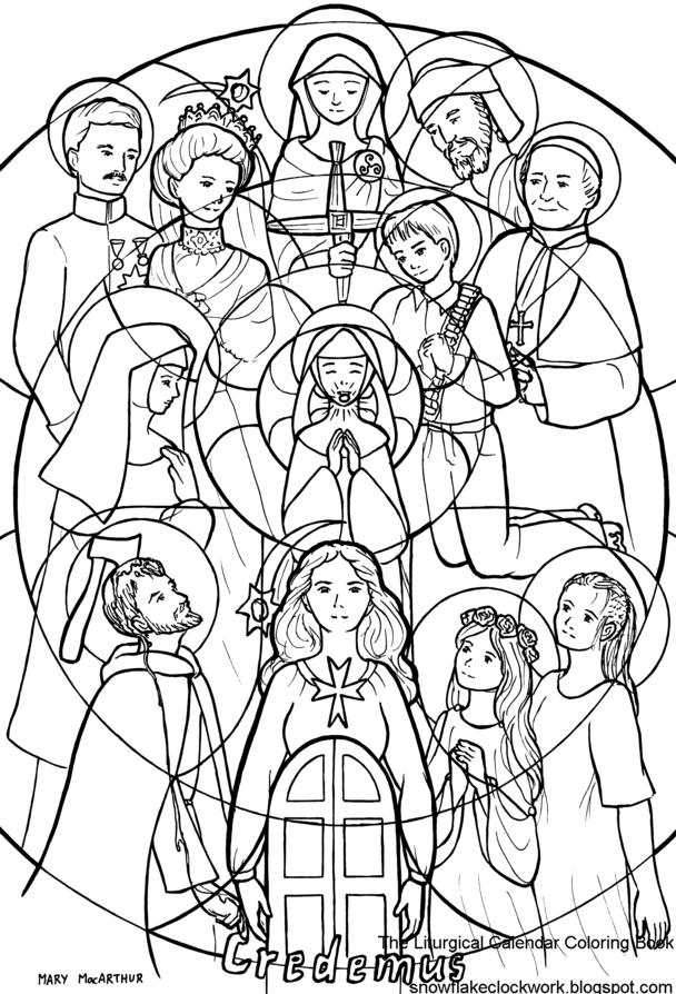 Snowflake clockwork all saints and all souls for All saints day coloring pages