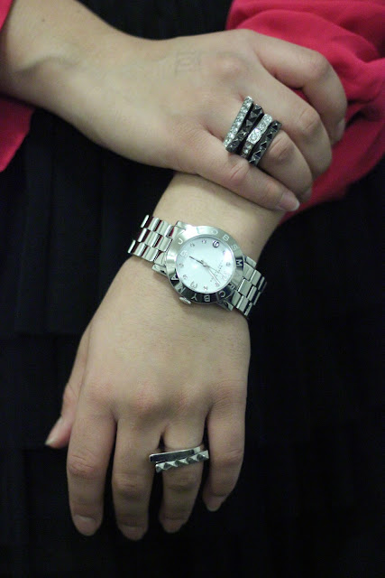 Stacked Rings and Marc Jacobs Silver Boyfriend Watch