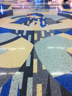 Design in inlaid linoleum flooring at Indianapolis airport