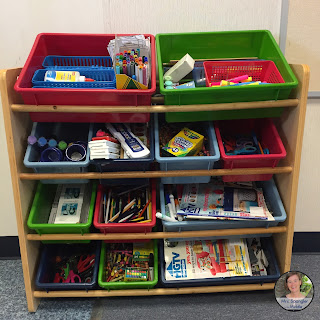 A creative way to store supplies in the middle school classroom.  #teaching #organization #classroomorganization