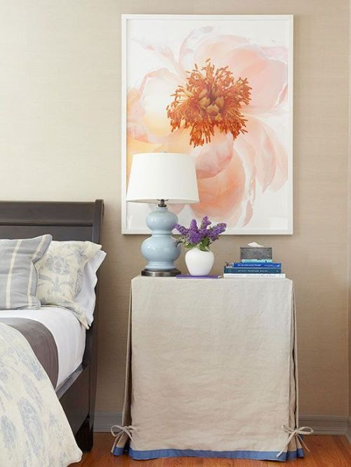 cosy beige bedroom with flower photo