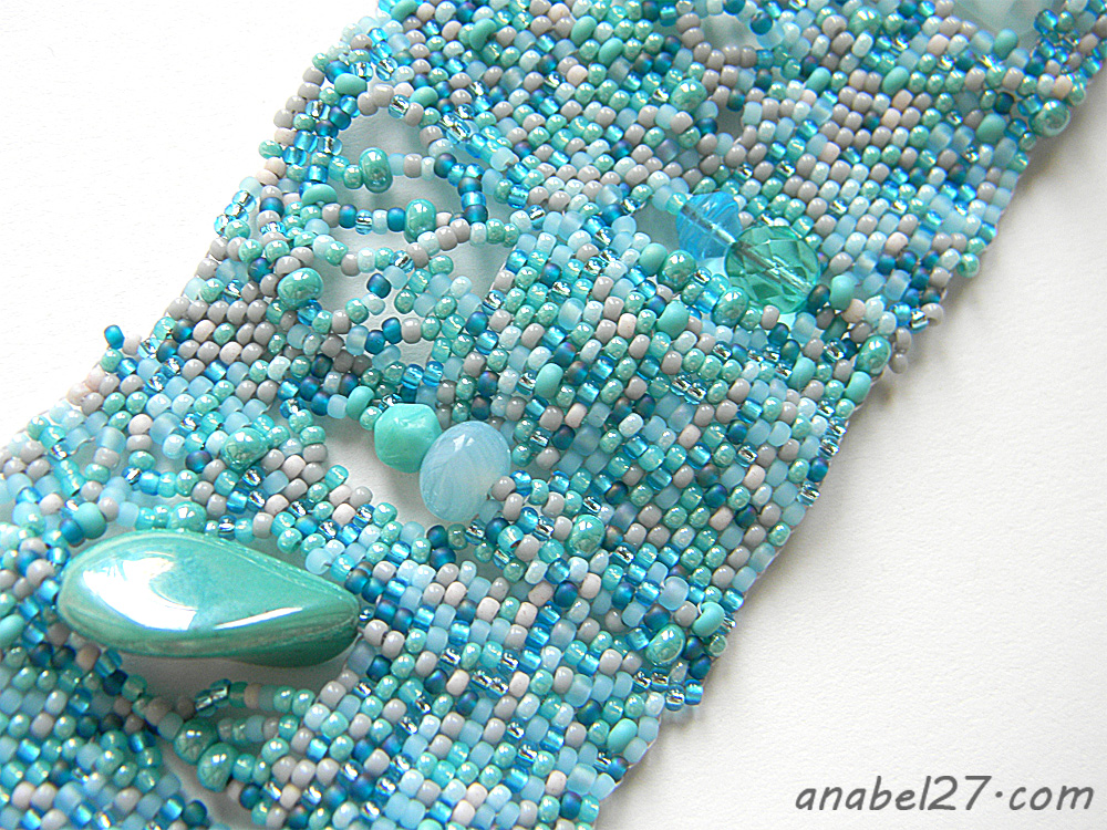 seed bead jewelry turquoise bracelet boho bohemian freeform peyote