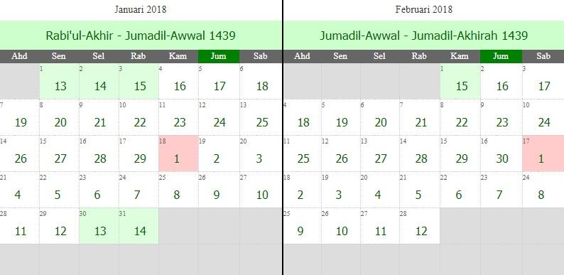 Kalendar Hijrah 1439 Bersamaan 2018 Masihi