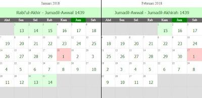Kalendar Hijrah 1439 Bersamaan 2018 Masihi Wannursyarifah