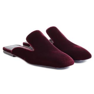 Jil Sander velvet slippers flat mules slides in burgundy red