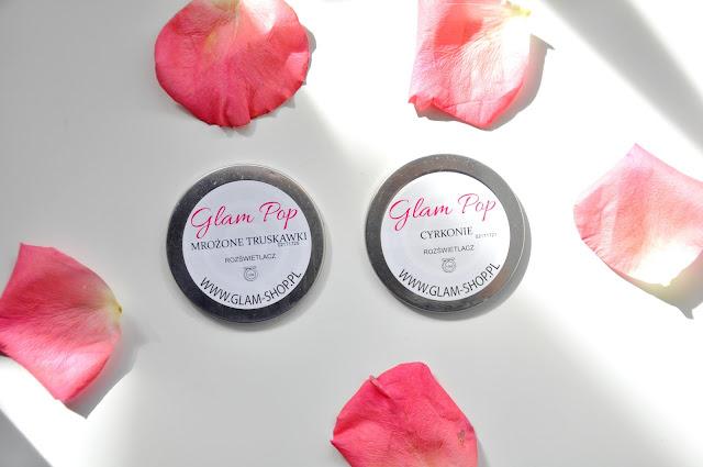 nowe rozświetlacze z glamshopu - glampop mrożone truskawki i cyrkonie